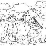 Wir tanzen im Regen und lachen dabei #Ausmalbild