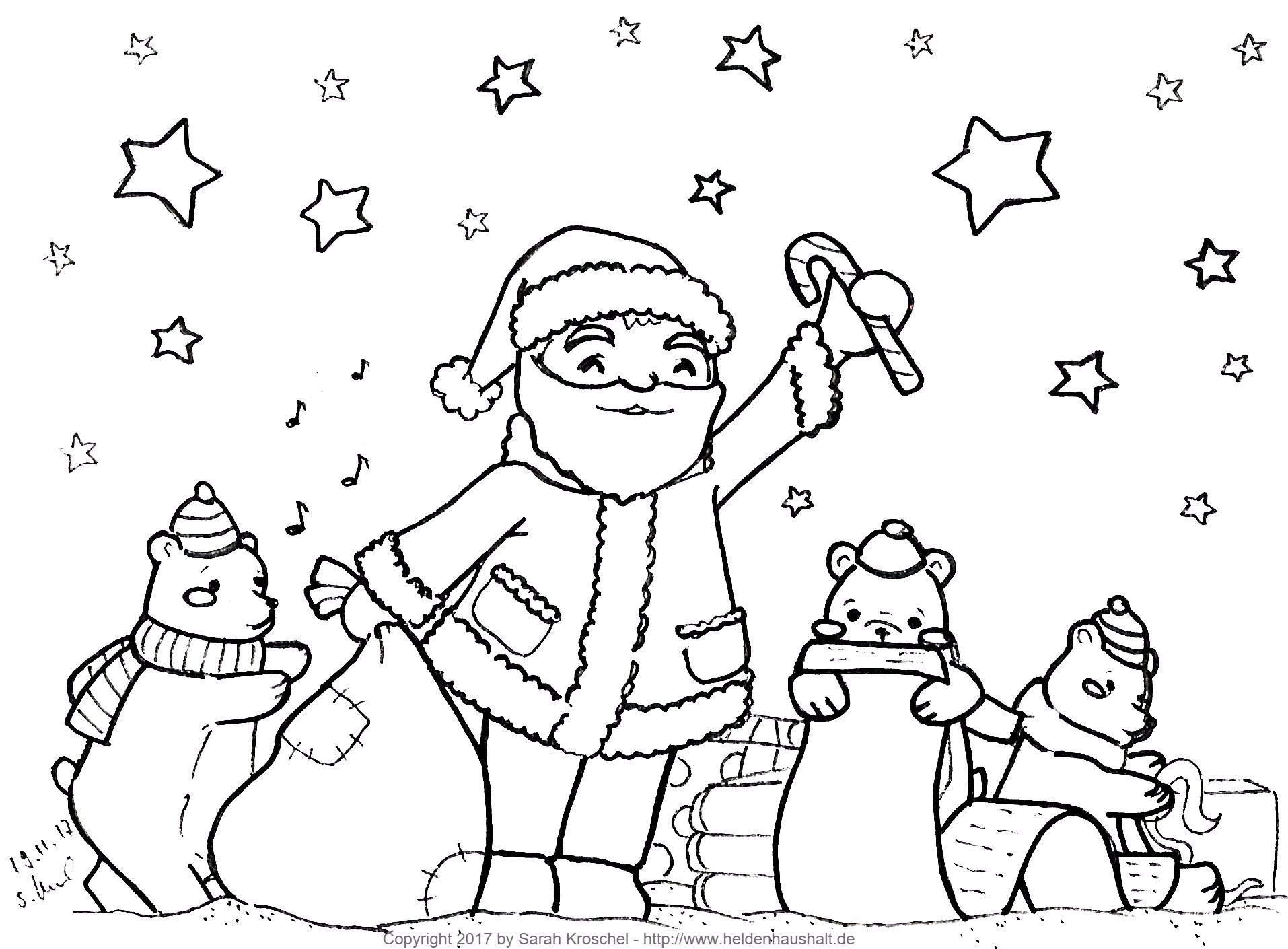 In der Weihnachtswerkstatt - Ein Ausmalbild zur Weihnachtszeit