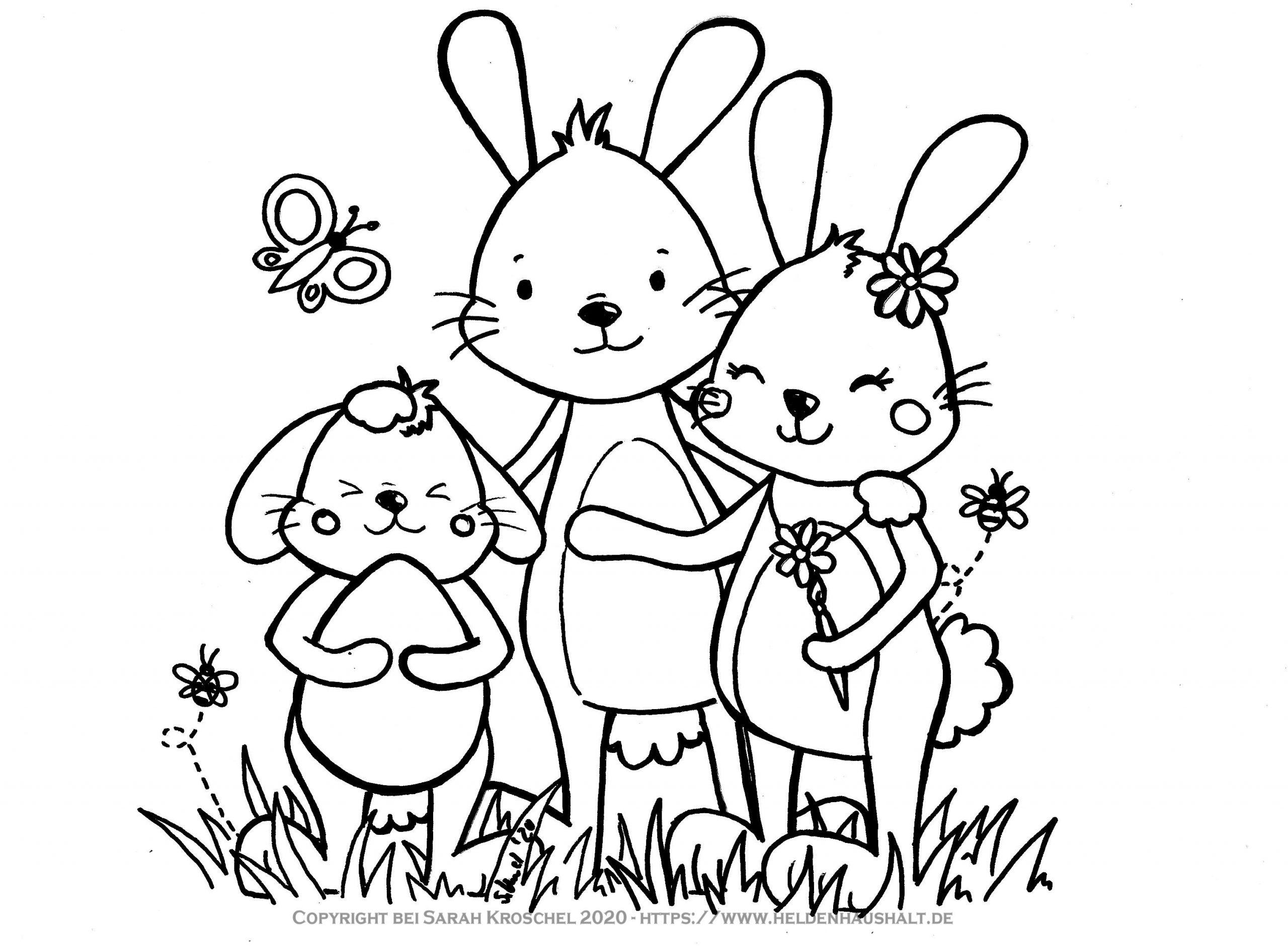 Hallo Hasenfamilie - Seid ihr schon in Osterstimmung? #Ausmalbild