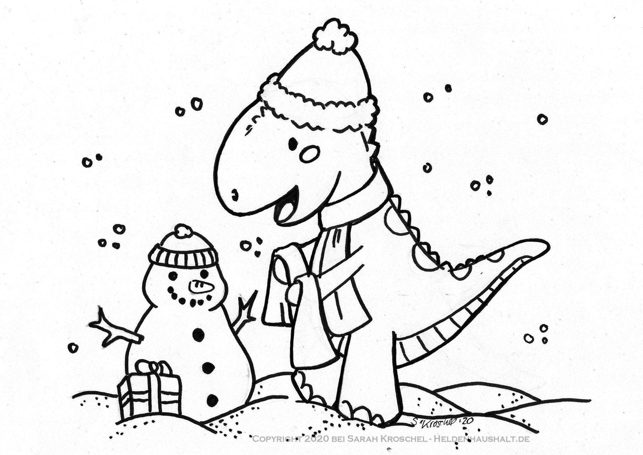 creadienstag  ein dino im winter ausmalbild