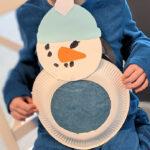 Basteln mit Kindern – Ein Schneemann aus Pappteller