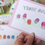 Schnelles Last-Minute-DIY: Bunte Osterpost mit Fingerabdrücken
